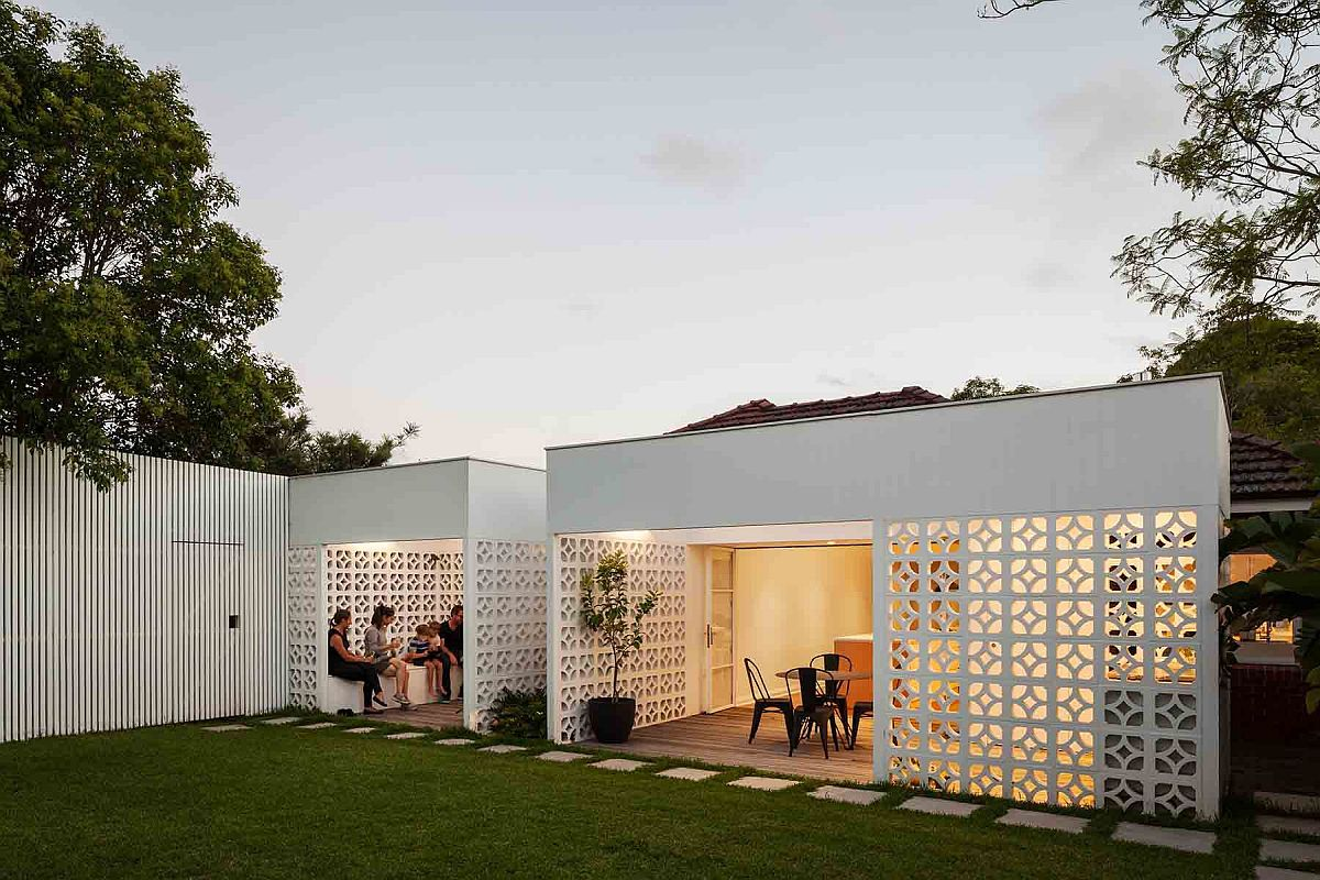 Creative use of breeze blocks shape the rear extension of the contemporary home