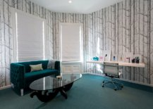 Curated-and-sophisticated-home-office-in-blue-and-white-with-wallpaper-on-the-walls-that-bring-pattern-66727-217x155