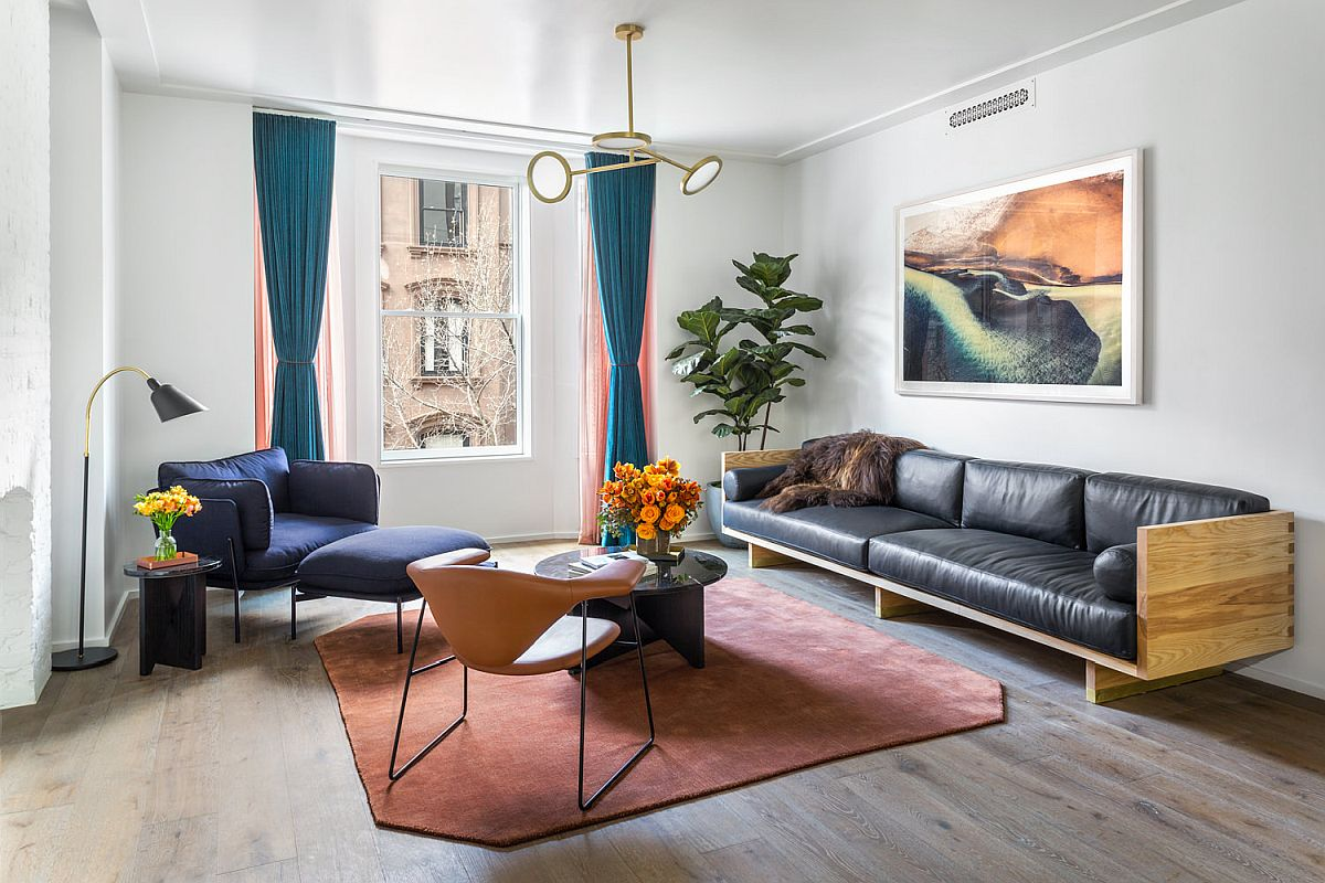 Custom-made leather sofa by Matter created for the NYC apartment living room