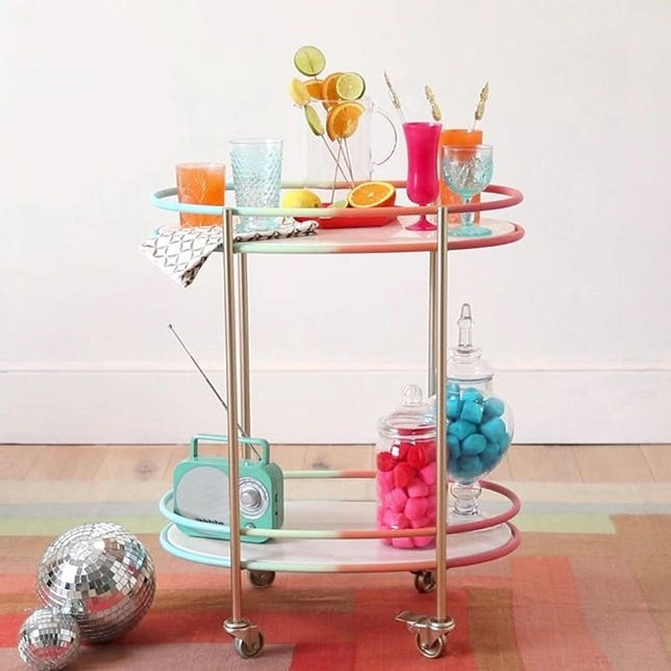 DIY rainbow bar cart from Brit & Co