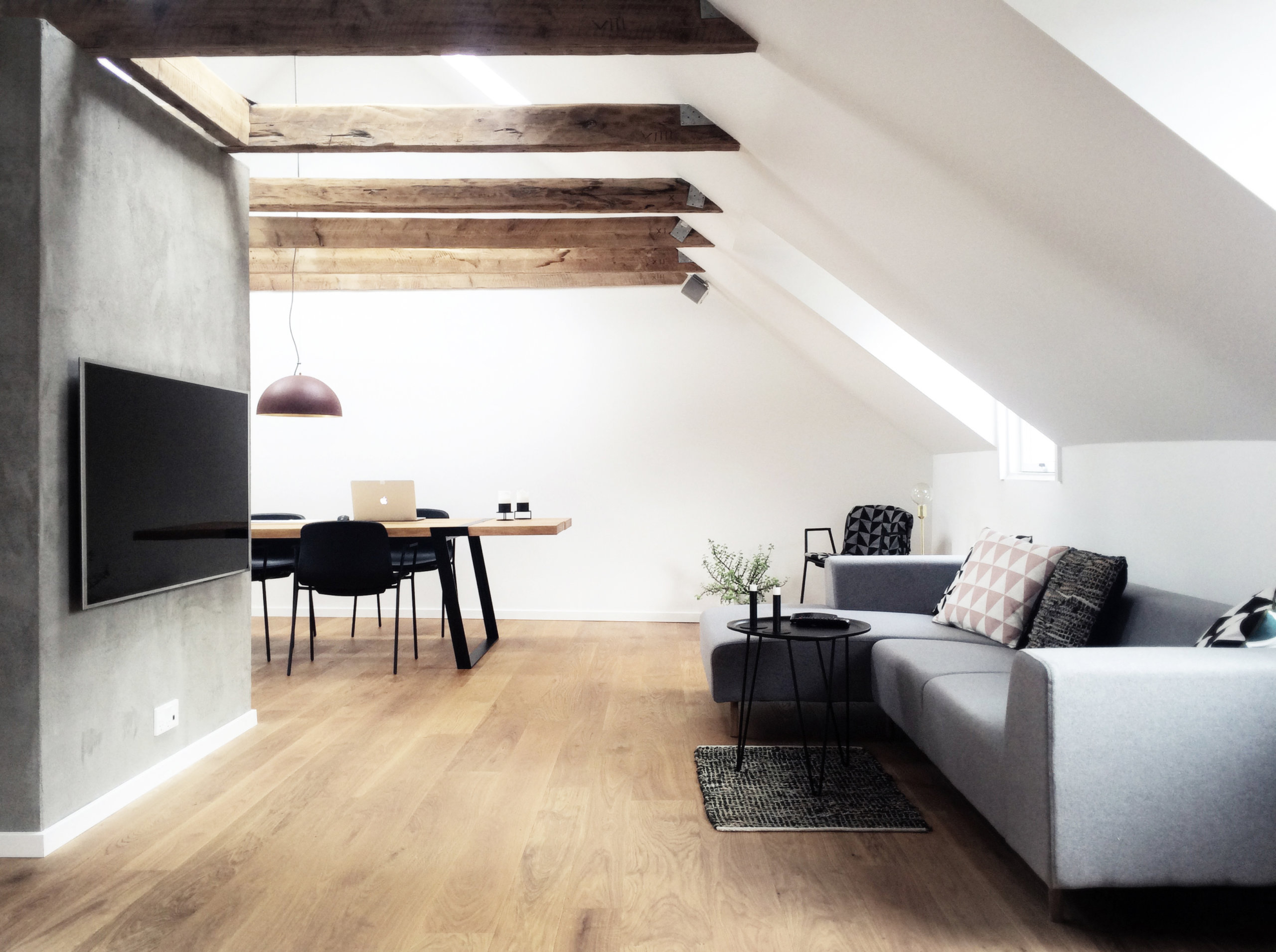 Dark apartment on the attic level turned into a light-filled modern home