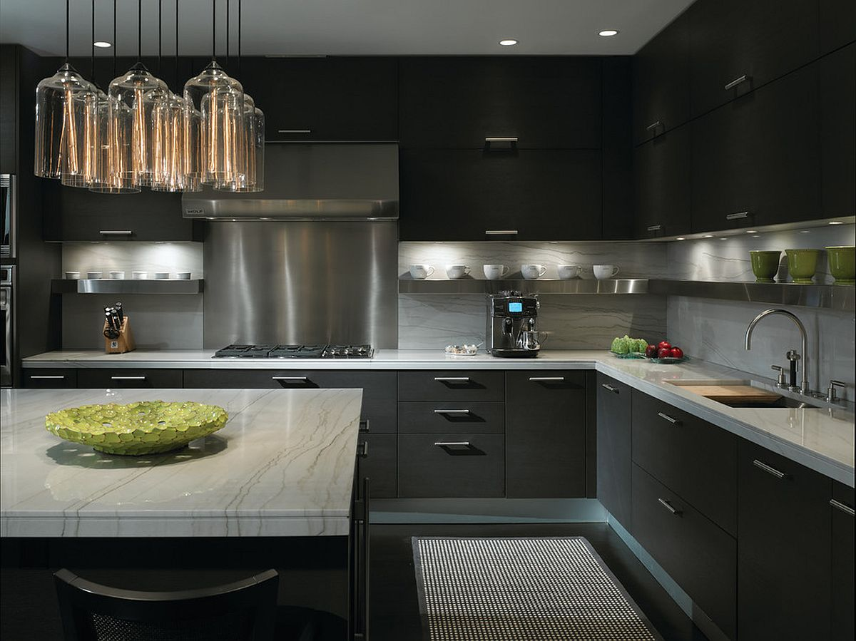 Dark grays and black create a kitchen that is both contemporray and sophisticated