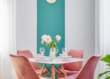 Dashing-dining-area-in-the-corner-with-a-touch-of-teal-in-the-backdrop-and-pink-chairs-that-make-it-special-79290-217x155