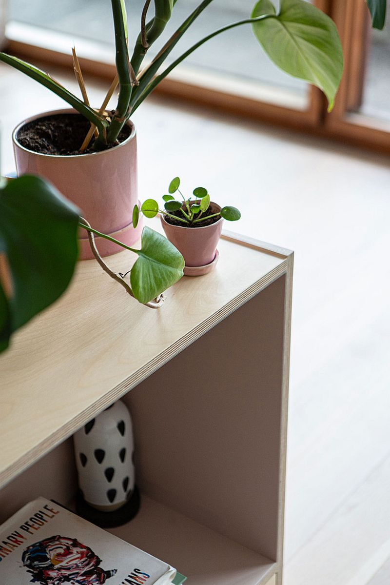 Decorating the wooden table with plants