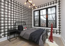 Exceptional-wallpaper-adds-checkered-pattern-to-this-small-modern-rustic-bedroom-in-style-70462-217x155
