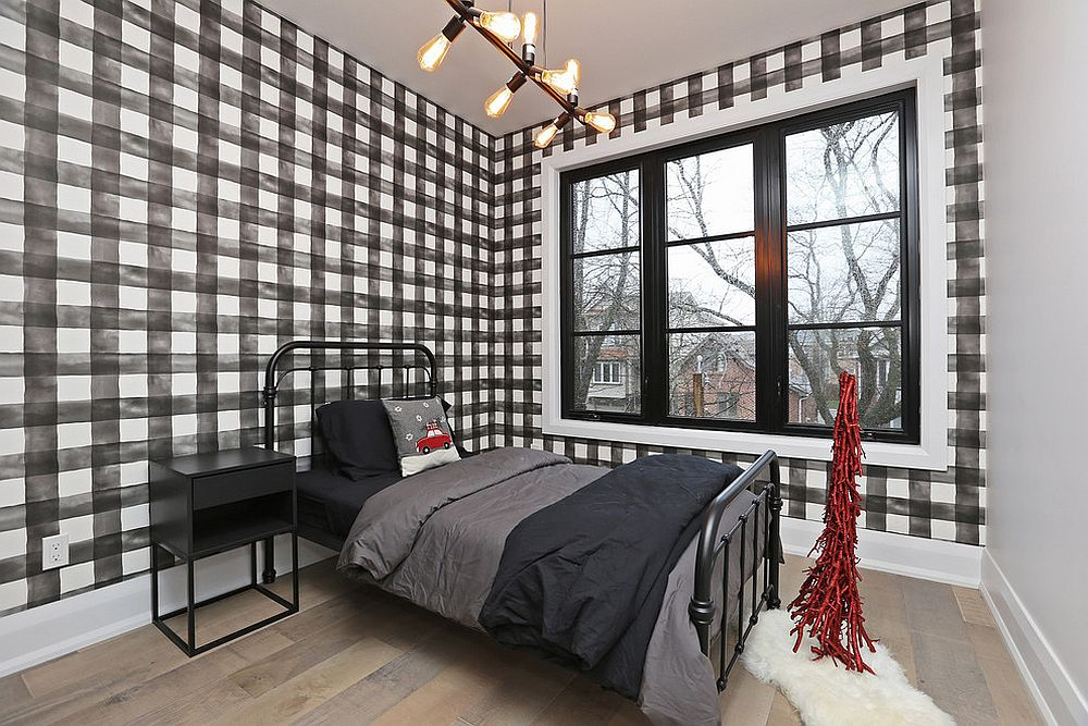 Exceptional wallpaper adds checkered pattern to this small modern rustic bedroom in style