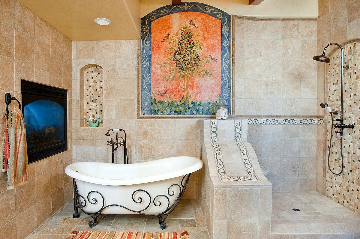 Fabulous Tuscan bathroom with a bathtub that complements its style