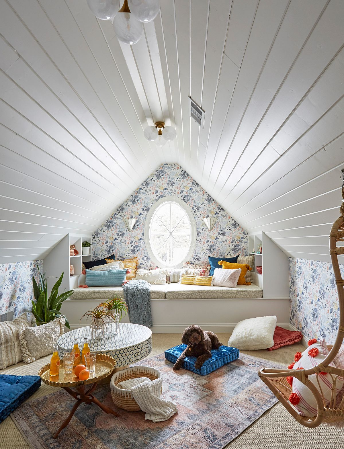 Fabulous attic hangout that is great for kids and teens alike with a window seat and ample space