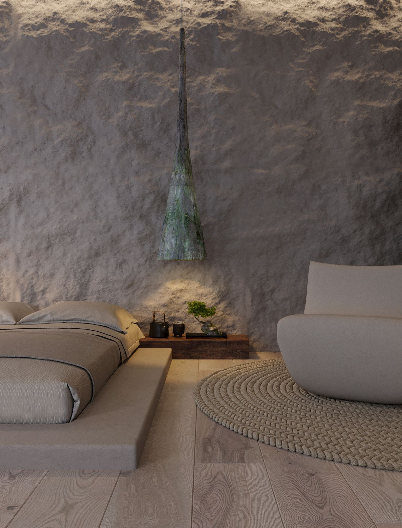 Fabulous bedroom embraces ructic textural charm along with understated modern minimalism