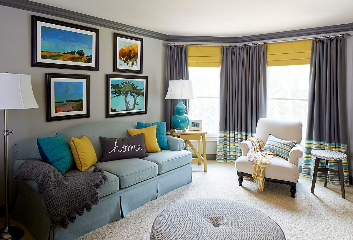 Fabulous modern living room in gray with blue and yellow accents all around