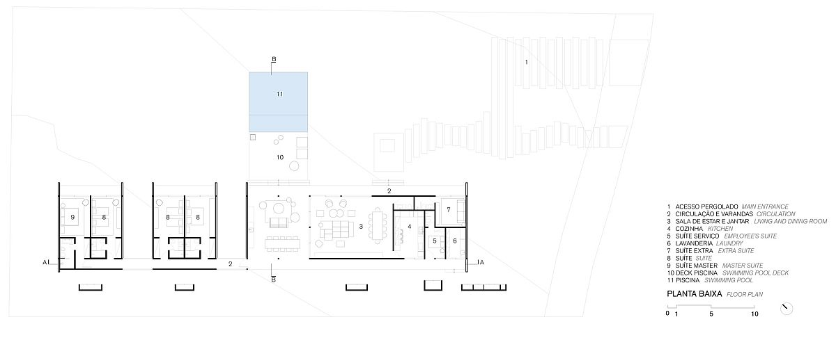 Floor plan of Brazilian home in glued laminated eucalyptus wood
