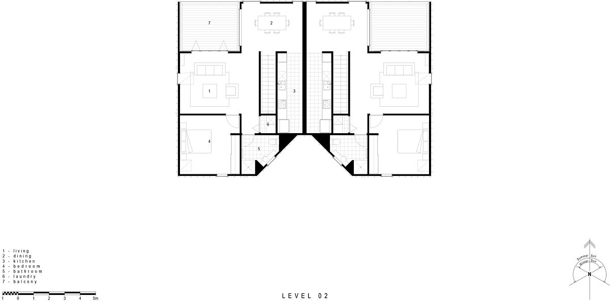 Floor plan of Hereford Flats designed by Young Architects