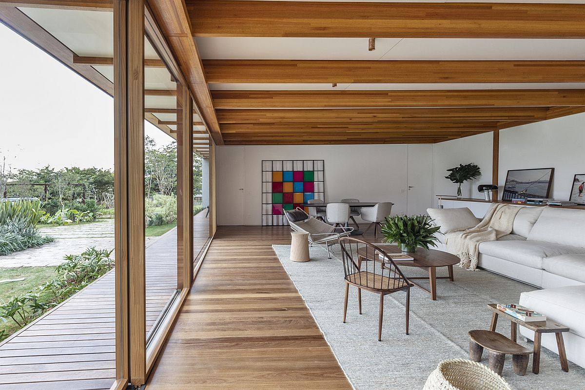 Glued laminated eucalyptus wood is used extensively throughout the house