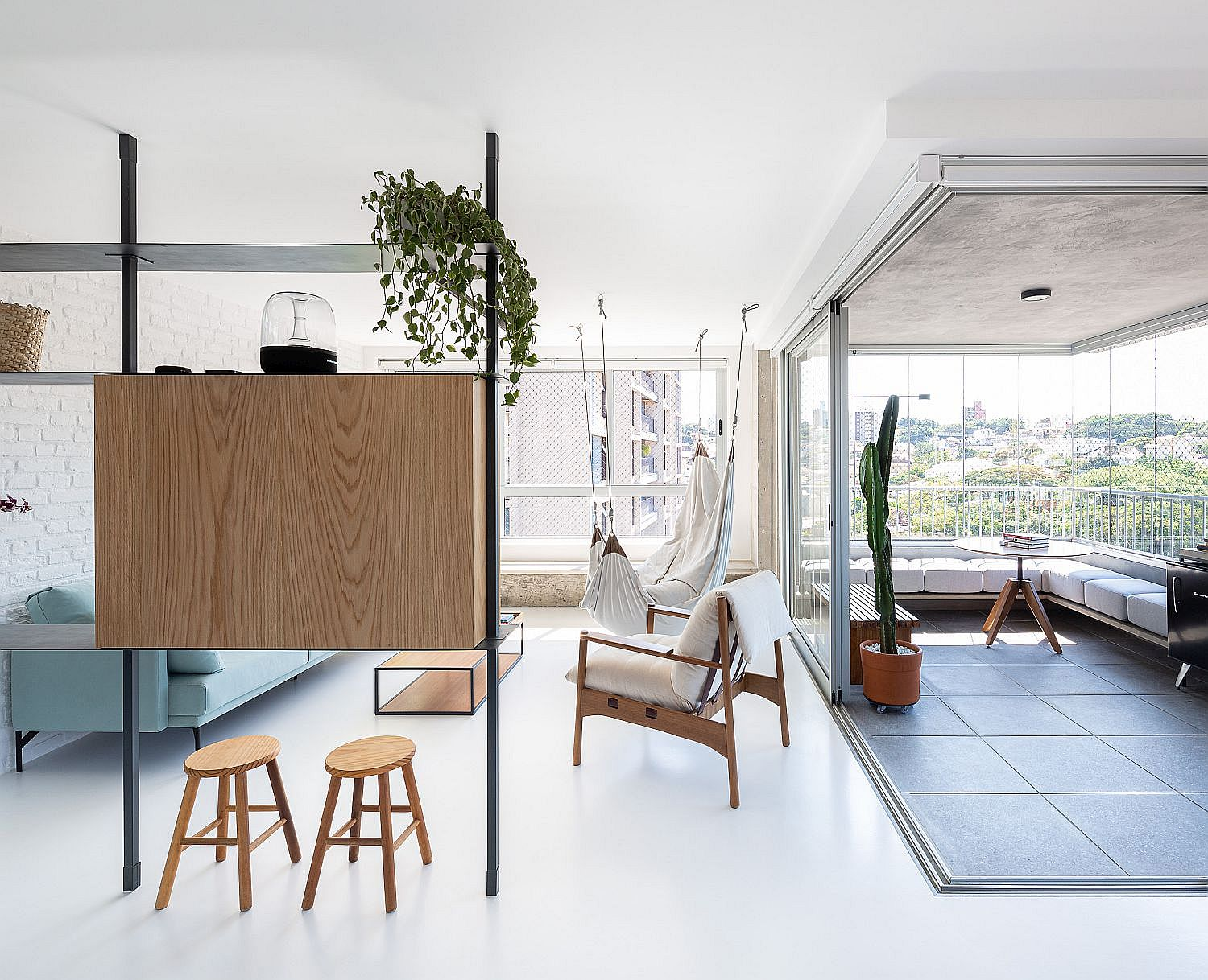 Cheerful Living Inside Space-Savvy Modern Apartment with Custom Decor Solutions