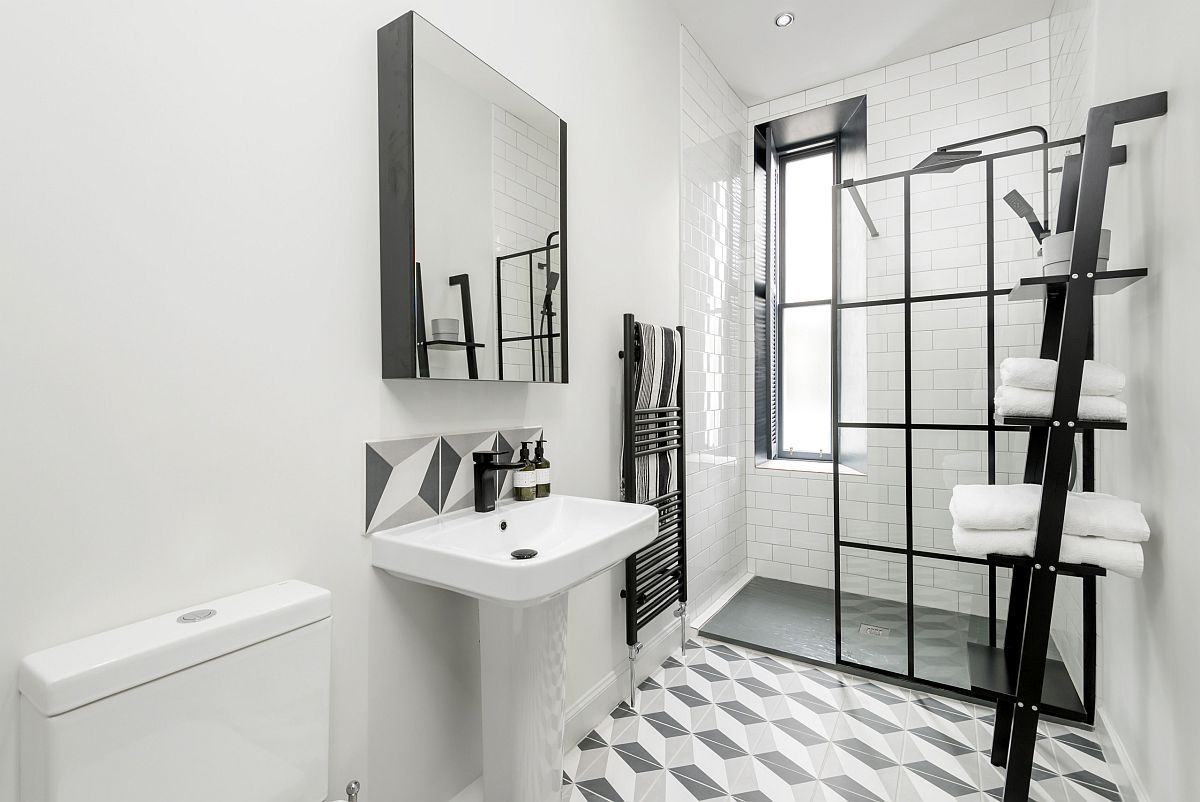 Gray and white bathroom can transition into a black and white bathroom with ease