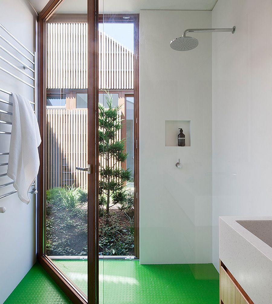 Green non-slip floor make the bathroom a much safer space