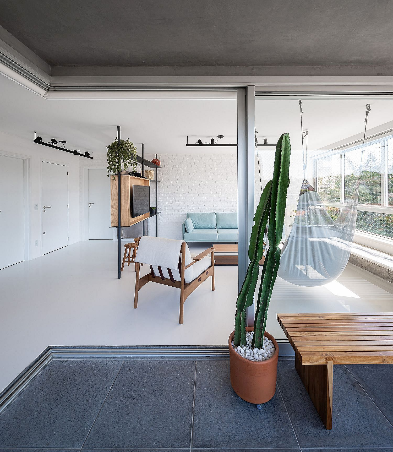 Homeowners can enjoy the TV from the balcony as well