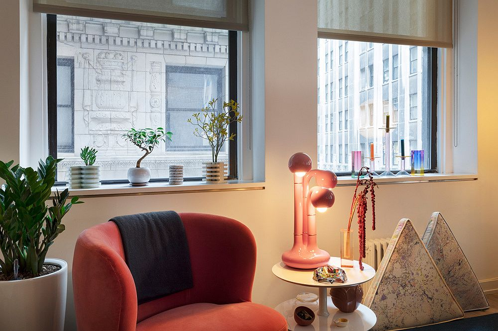 Innovative decor pieces and accessories bring both geometric and visual contrast to this smart New York City apartment