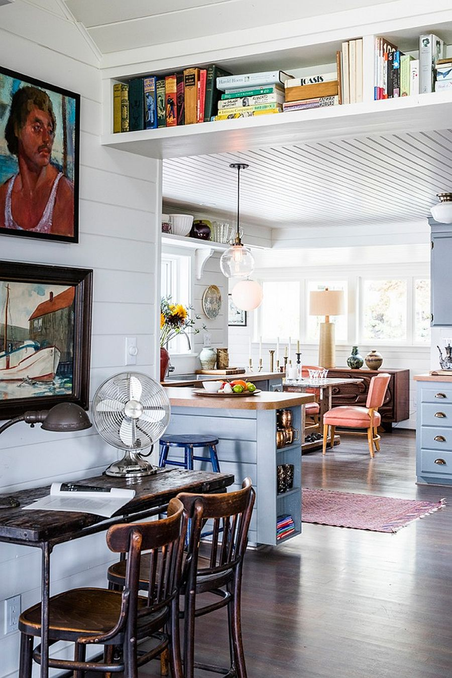 Kitchen, home workspace and living area of the home on Vashon Island