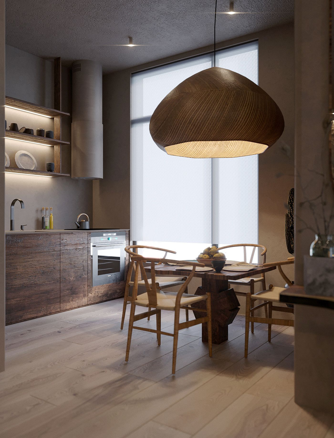 Kitchen in wood is space-savvy and modern at the same time