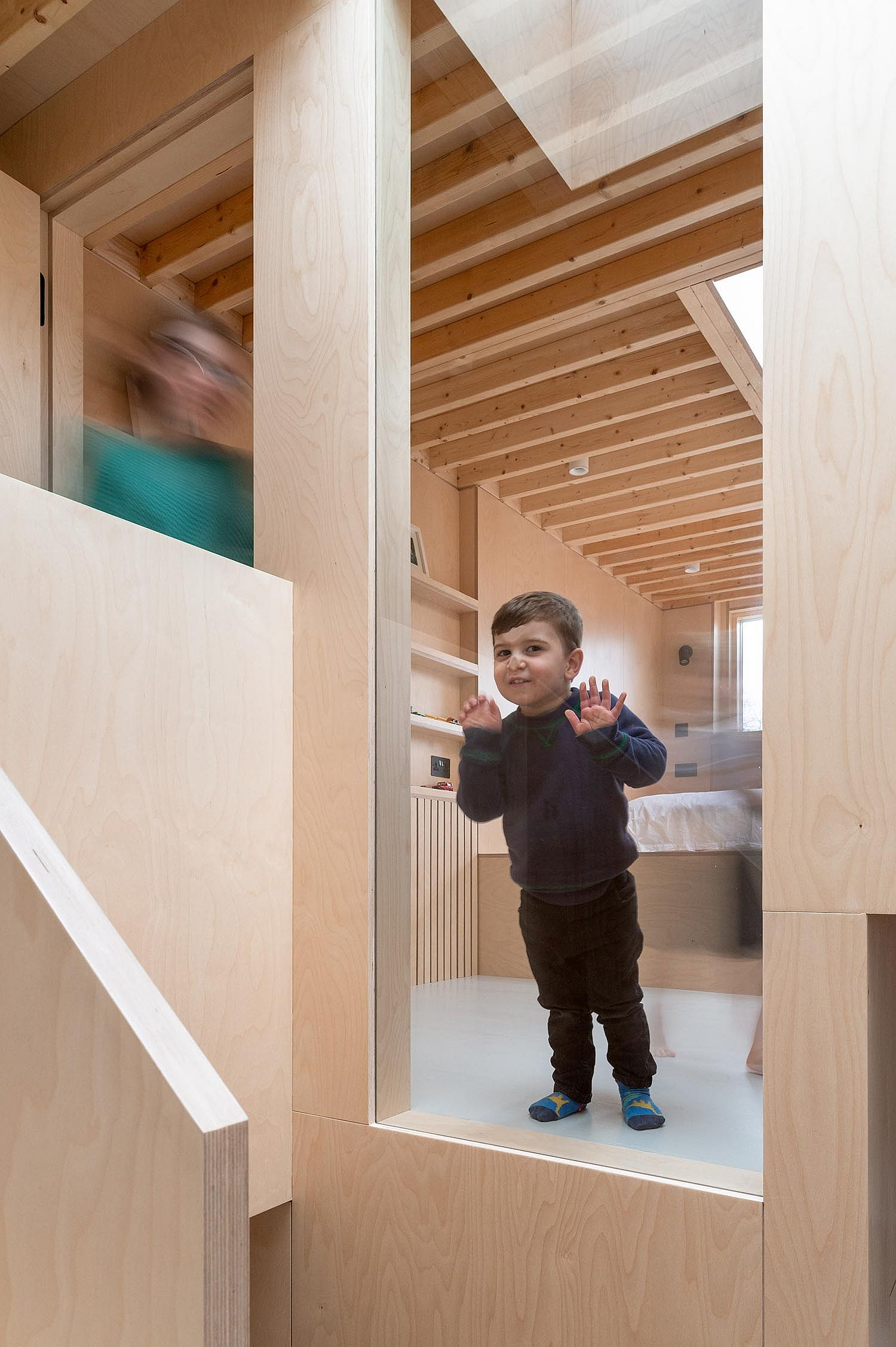 Large window on the upper level allows the homeowners to keep an eye on the little ones