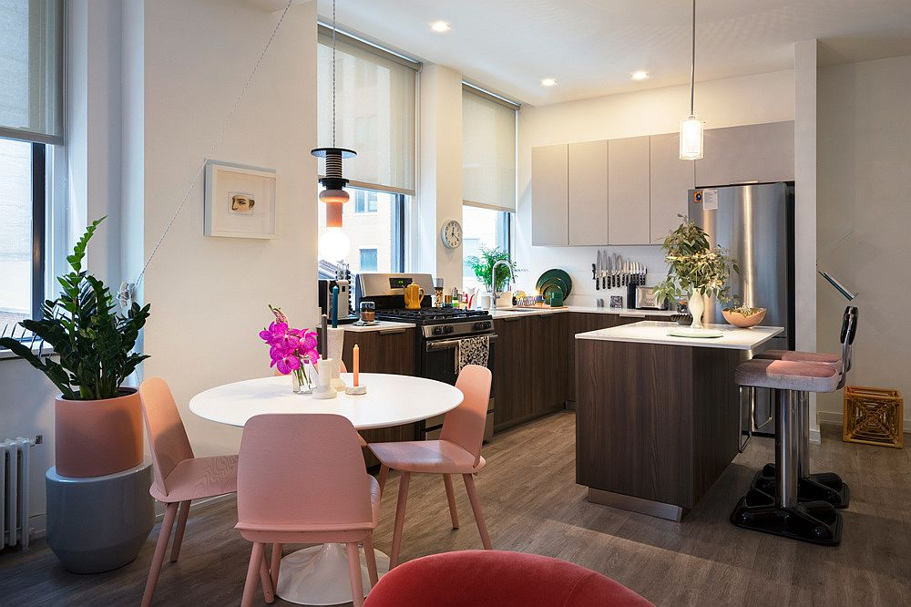 Light pastel pink chairs for the small dining area in the NYC apartment