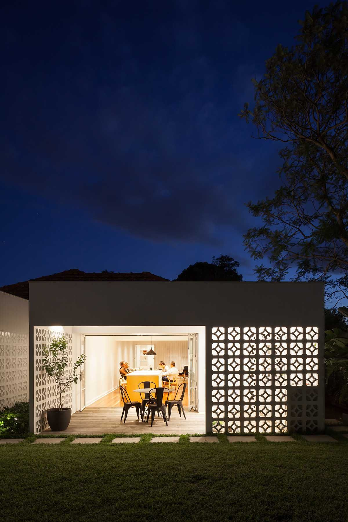 Lovely lighting illuminates the interior of the house while showcasing its best features