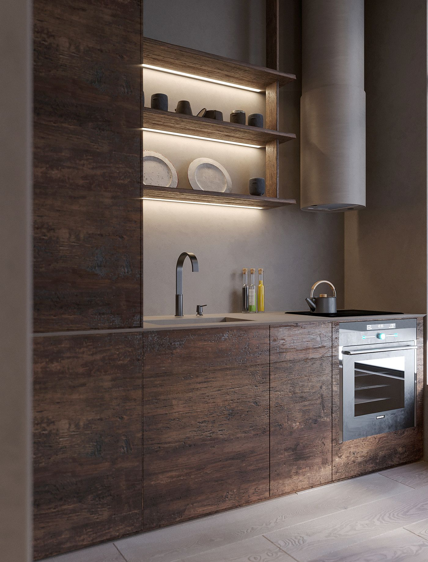 Matte finish of the kitchen wooden cabinets along with lighting give it a cozy appeal