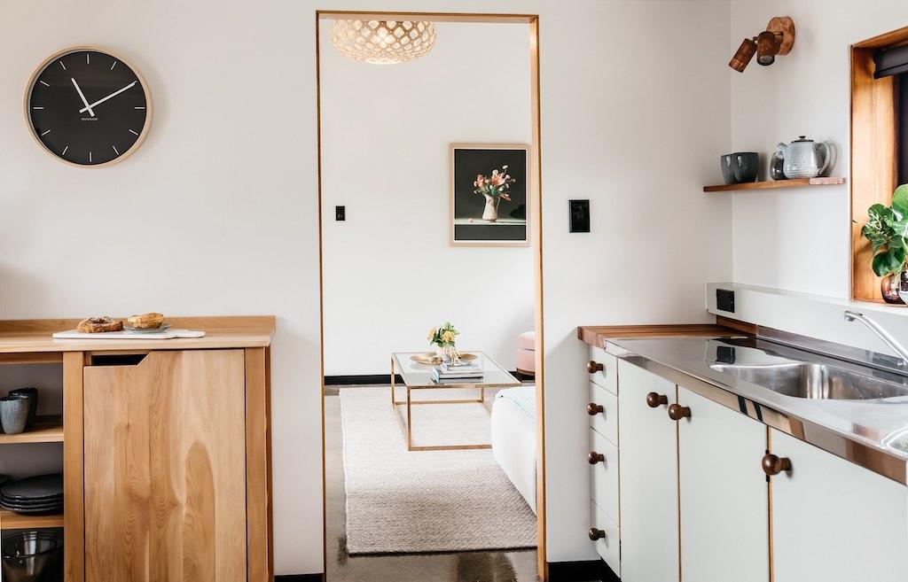 Modern cottage with wooden trim