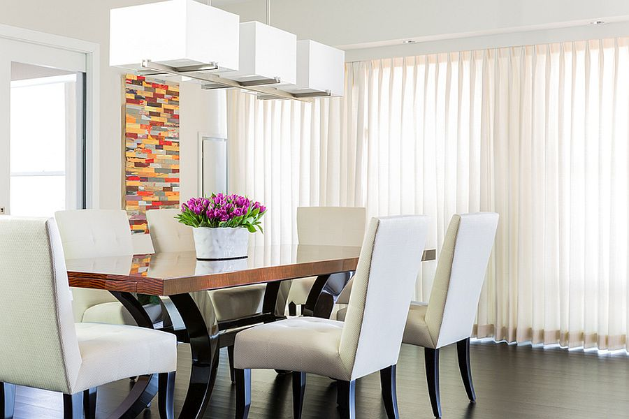 Modern dining room in white with sheer curtains for the South End home in Boston