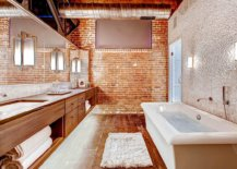 Modern-industrial-bathroom-wih-brick-wall-and-wooden-vanity-along-with-bathtub-in-white-15599-217x155