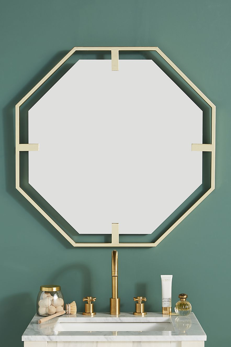 Octagonal mirror with golden trim from Anthropologie
