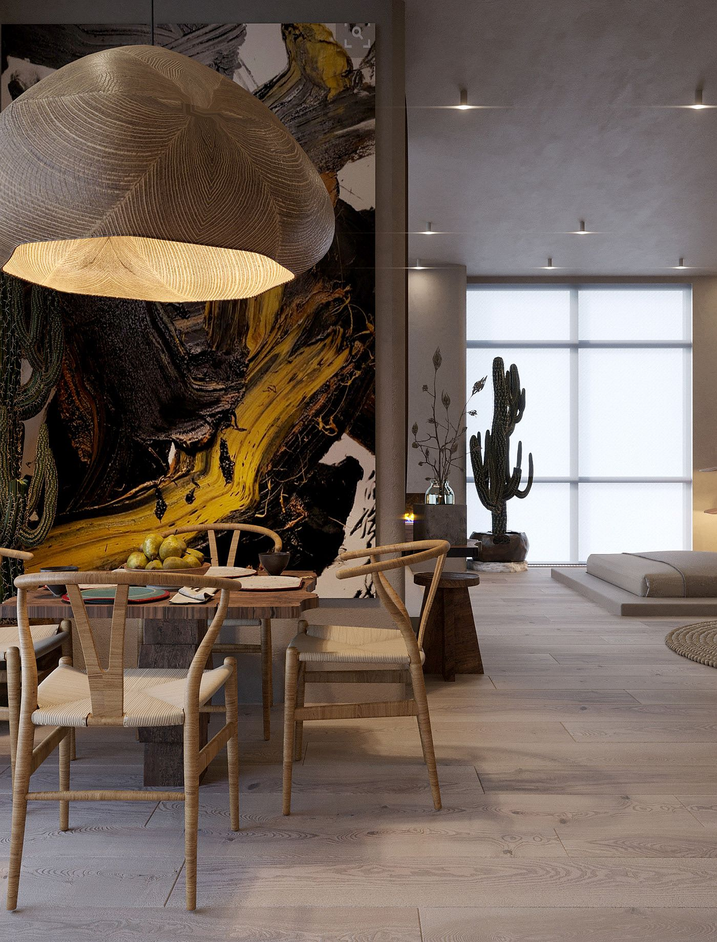 Over-sized wall art feature steals the spotlight in thisd dining area