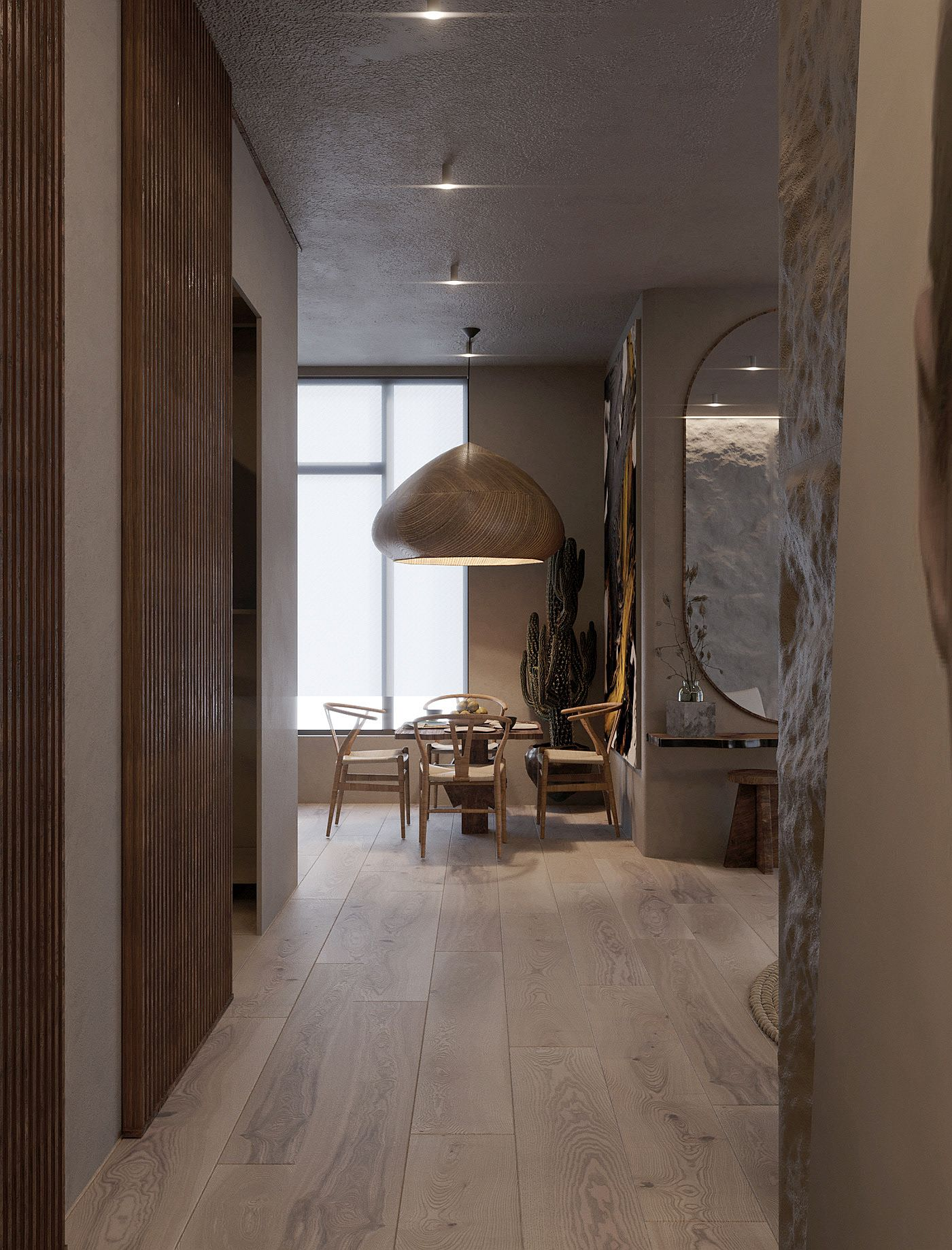 Pendants, flooring and walls sections bring woodsy charm to the interior