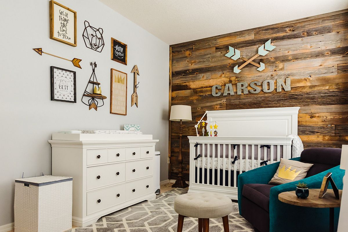 Perfect wooden accent wall for the modern farmhouse style nursery with pops of teal thrown into the mix