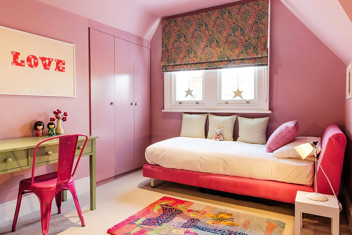 Pink girls' bedroom feels bright and contemporary at the same time