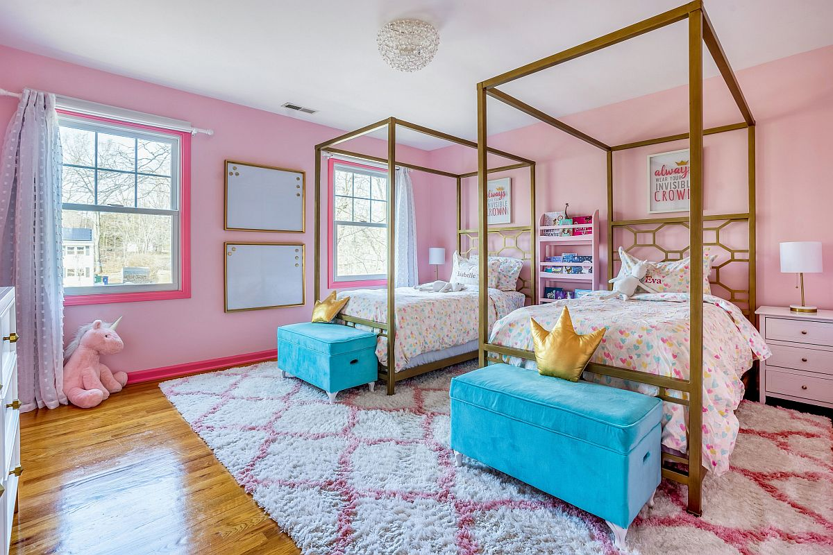 Pink is the most obvious color of choice in the contemporary girls' room