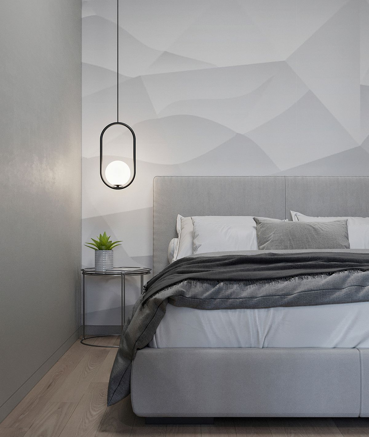 Polished-bedroom-in-gray-with-contemporary-industrial-style-that-is-urbane-58600