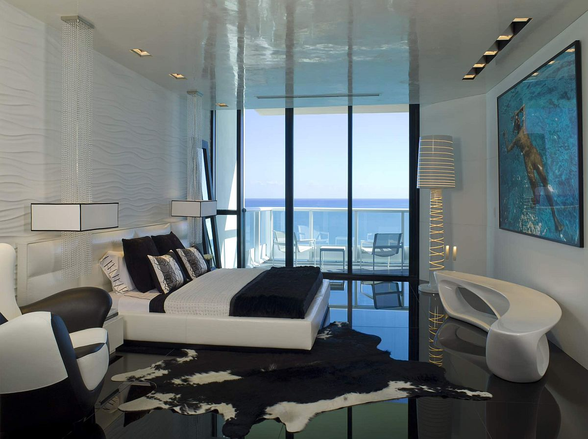 Polished black floor for the contemporary bedroom in white