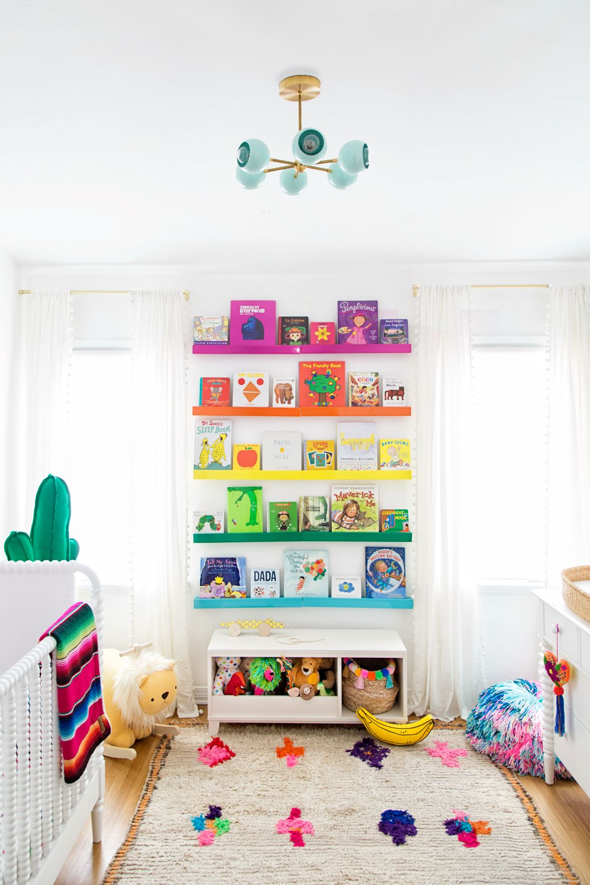 Rainbow bookshelves from Studio DIY