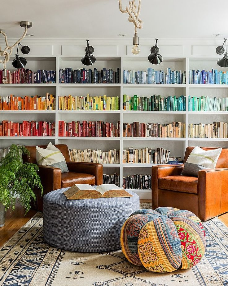 Rainbow bookshelves in soft tones