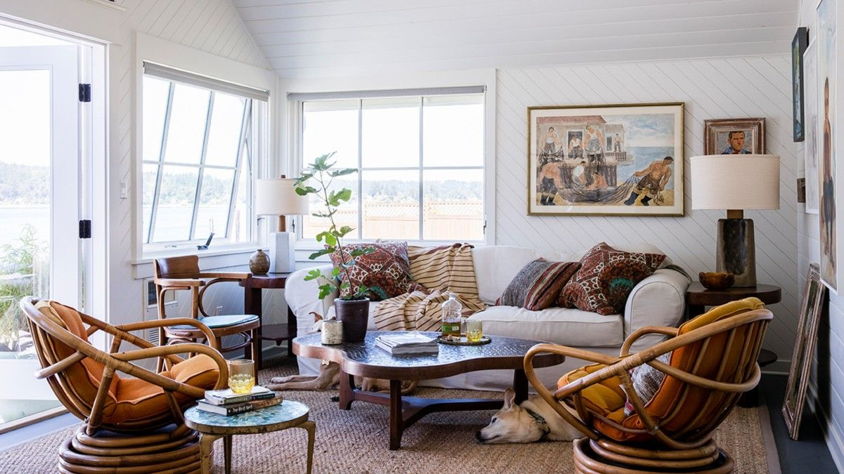 Relaxing family room with a fabulous view and decor that feels comfortable and stylish