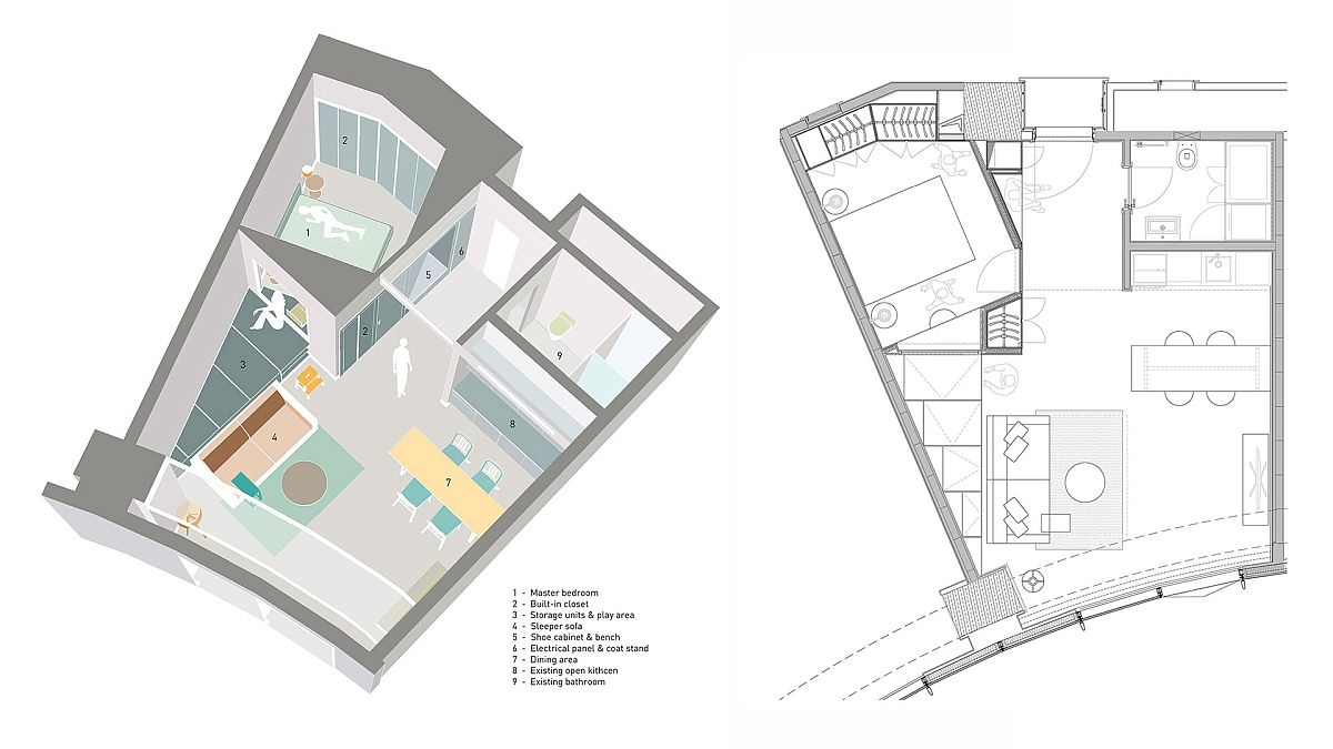 Revamped floor plan of the tiny apartment in Turkey