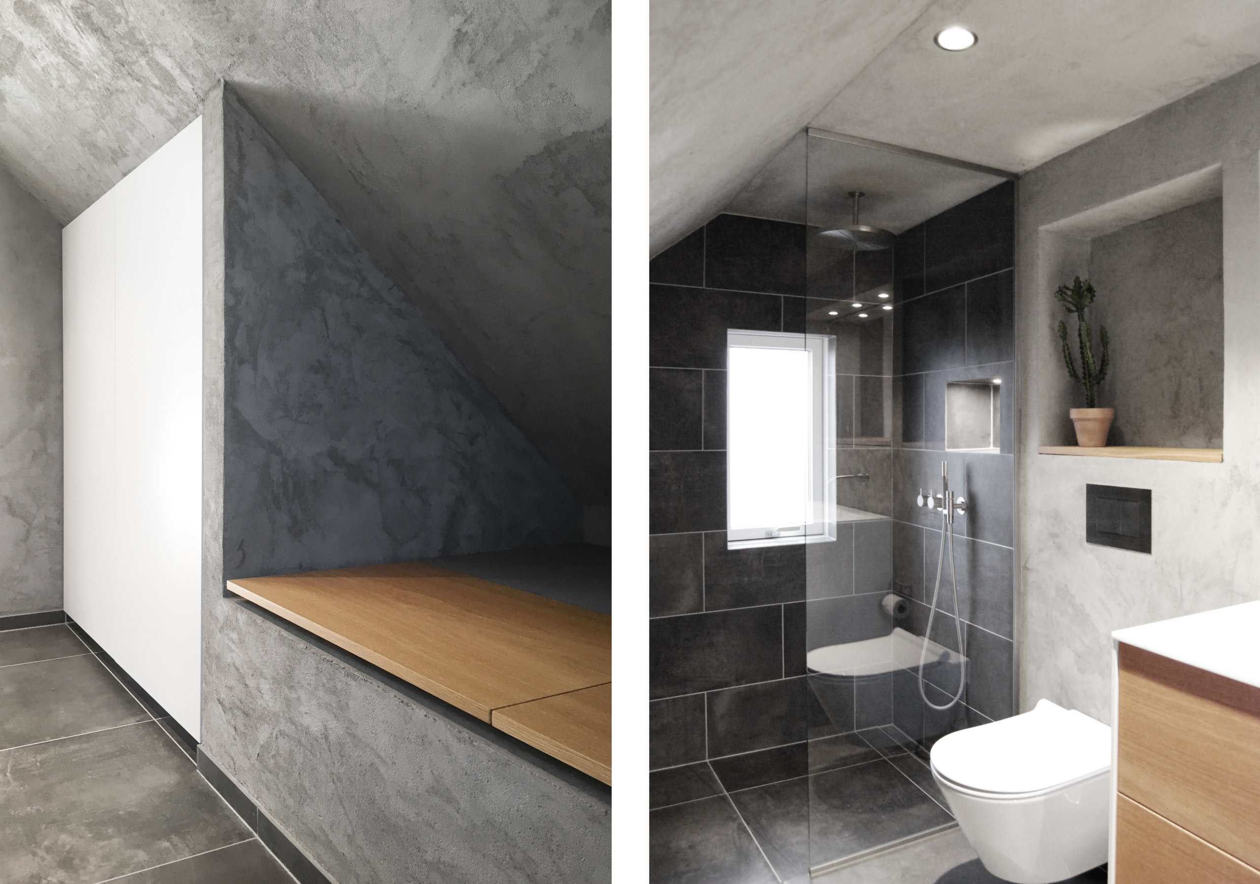 Rough concrete walls are combined with dark gray tiles and wooden vanity inside the posh modern bathroom