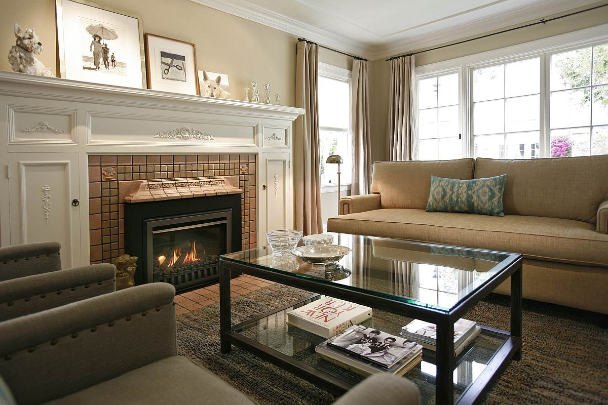 Shades of beige closer to yellow give the room a warmer, cozier appeal even as drapes and couch complement the hue
