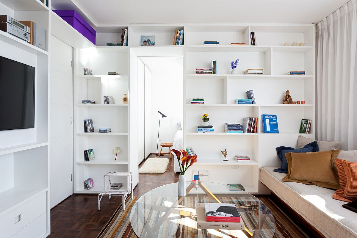 Small Studio Apartment in Brazil in white gets a chic makeover that is also space-savvy