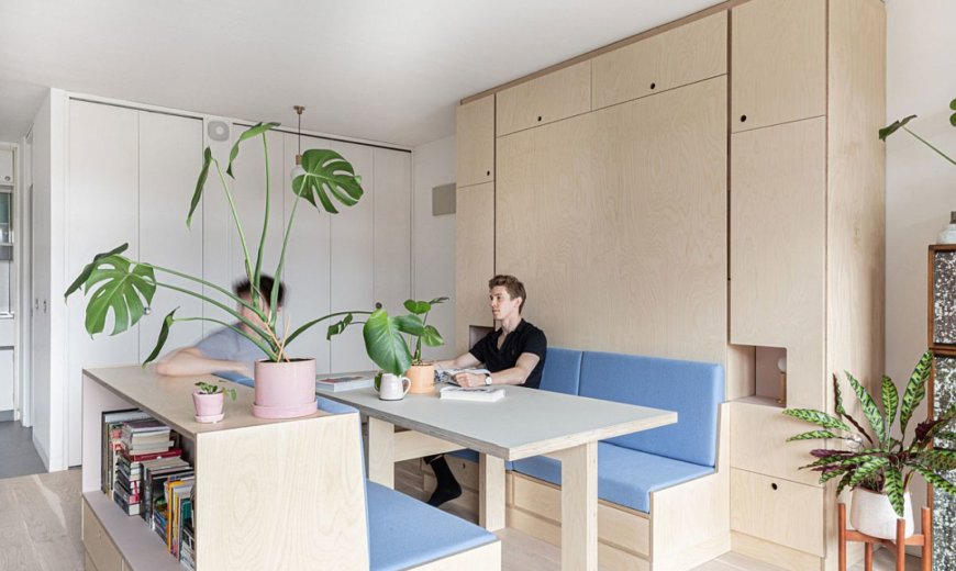 Small Studio Apartment in London Gets a Multi-Functional Wall that Hides Almost Everything!