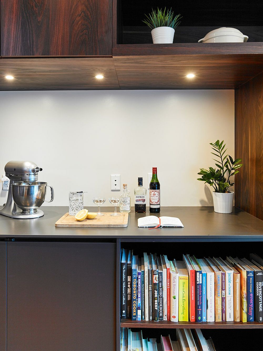 Small-tea-station-in-the-kitchen-with-bookshelf-underneath-10779