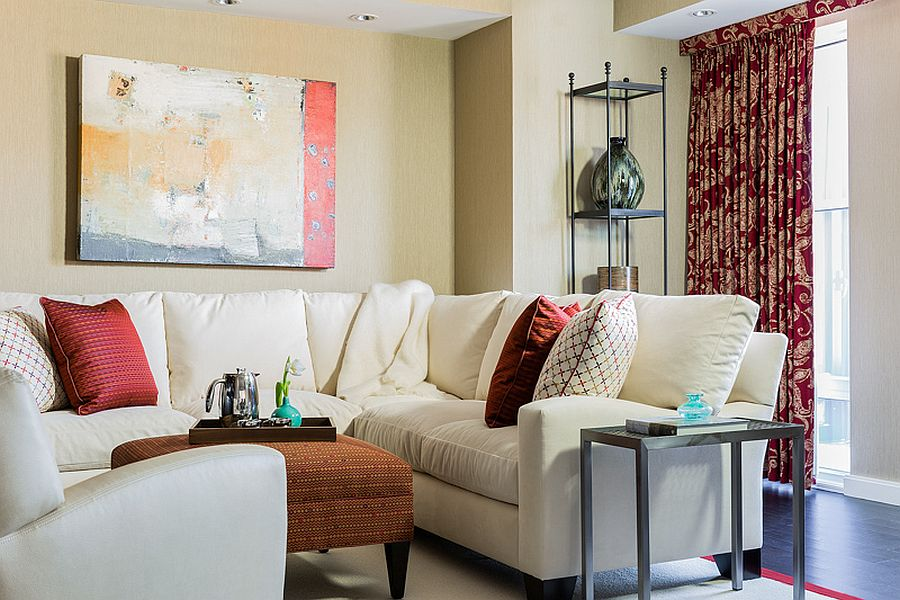 Sofa and comfortable decor bring modernity along with opulence to this revamped home