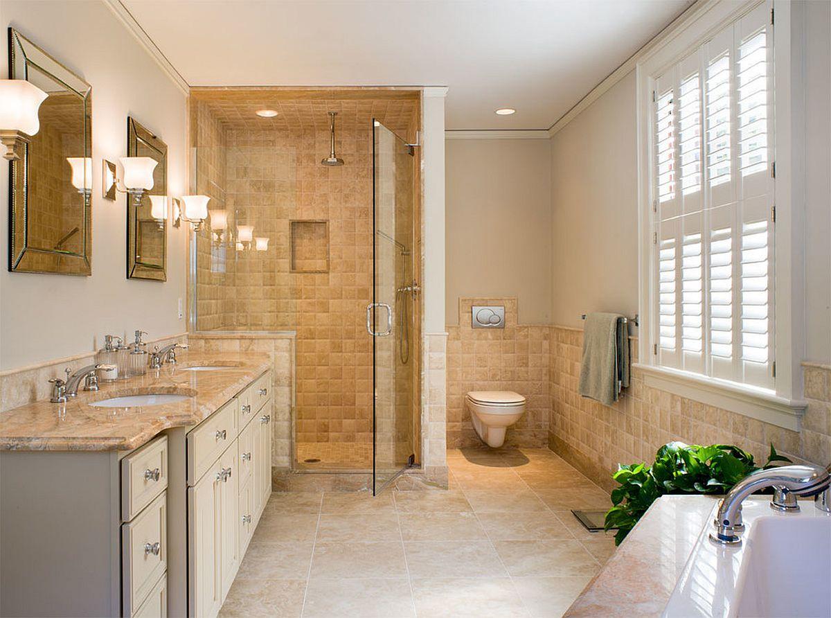 Stone floor in the bathroom brings a bit of beige to it